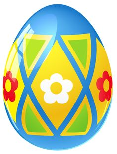 Blue Easter Egg with Flowers PNG Picture