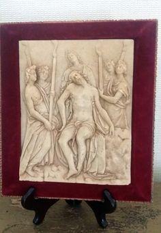 Vintage Virgin Jesus Relief Soap Stone Carving by JewelsRosesNRust