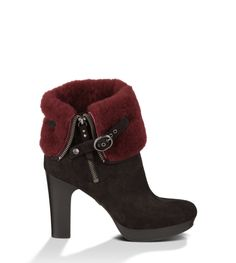 UGG Scarlett Women's Black / Oxblood beautiful I want this Ankle Booties, Bootie Boots, Shoe Boots, Rain Boots, Nylons, New Uggs, Short Heel Boots, Leather Heeled Boots, Scarlett