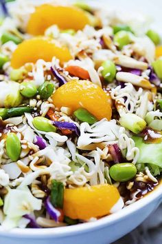 This ultra-popular Asian Ramen Noodle Salad is a twist on an old classic innovated with edamame, mandarin oranges, and the BEST teriyaki dressing! Perfect for potlucks, parties, or laid back weeknight dinners! Healthy Salad Recipes, Veggie Recipes, Asian Recipes, Healthy Dishes, Dinner Recipes, Asian Ramen Noodle Salad, Ramen Noodles, Asian Noodles, Salad Buffet