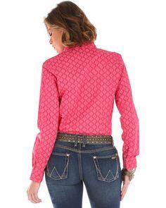Wrangler Women's Long Sleeve Tonal Print 2 Pocket Shirt | Sheplers