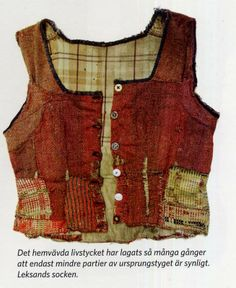 """Patched and mended bodice """"FolkCostume&Embroidery: Costume and Embroidery of Leksand, Dalarna, Sweden"""""""