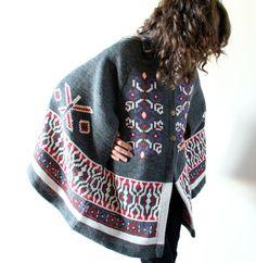 HIppie Sweater Cape, 70s intarsia knit Tribal Navajo / Aztec inspired Southwestern boho overcoat poncho jacket, grey, red, white, purple. $68.00, via Etsy.