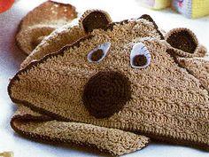 Crochet Pattern Bear Baby Blanket with Hood 75x75cm Double Knit 270 Freepost   eBay