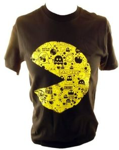 Pac-Man Mens T-Shirt – Clutter Filled Game Associated Art Image