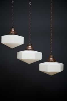 A large run of hexagonal opaline glass pendant lights. English Price is per light. Rewired and PAT tested, supplied with suspension chain and ceiling hook. Glass Pendant Light, Opaline, Lighting, Hanging Lights, Lamp, Pendant Lamp, Modern Victorian, Beautiful Lighting, Art Deco Lighting