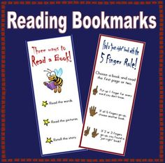 """This FREE bookmark reminds the children how to choose a """"just right"""" book using the 5 finger rule."""