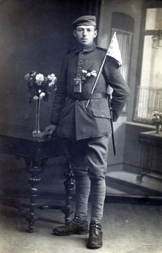 WWI German soldier with flowers