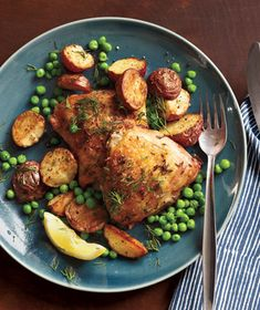 I did this in the crock pot.  Added a dash of Italian dressing and a 1/2 cup of water and didn't use the peas.  It was delish!  Herb-Roasted Chicken With Potatoes and Peas Recipe | Real Simple Recipes