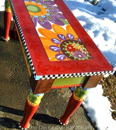 Interesting painted table The Decorative Paintbrush, Designs by Mary Mollica: Sexy Legs @ Deedidit D. Art Furniture, Funky Furniture, Refurbished Furniture, Colorful Furniture, Repurposed Furniture, Furniture Projects, Furniture Makeover, Bohemian Furniture, Furniture Design