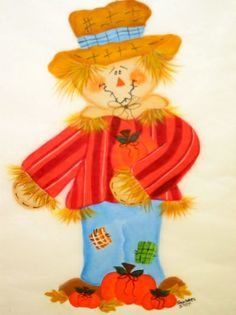 Scarecrow.  One Stroke Painting by Susan Earl.
