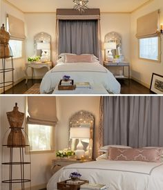 Small Mediterranean Bedroom with Mirrors on SideTables