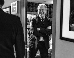 "Alan Rickman behind the scenes of the ""Late Show With Jimmy Fallon"" at NBC Studios, 2013."