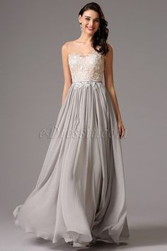 Illusion Top V Neck Lace Bodice Grey Formal Dress Evening Dress