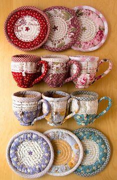 Patchwork tazas de té.  Quilted Teacup.