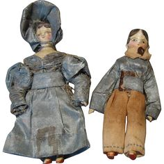 This striking pair of all original miniature Grodertal wooden dolls will astonish you with their charm and personality. They have early jointed wooden