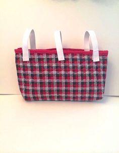 Quilted Shimmery Plaid Walker Bag - Stroller Bag - Wheelchair Bag on Etsy, $26.00