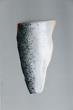 Salmon fillet on steel, skin showing, grey by Kirsty Begg for Stocksy United fillet, fish, food, from above, grey, overhead, raw, salmon, scale, skin