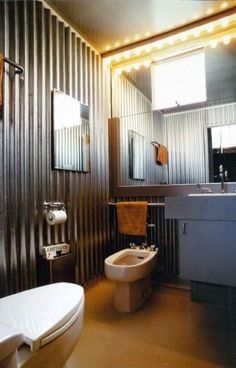corrugated tin on walls? bethgw corrugated tin on walls? corrugated tin on walls? Boys Bathroom, Contemporary Bathroom, House, Home, Corrugated Metal Wall, Industrial Interiors, Bathrooms Remodel, Bathroom Design, Tin Walls