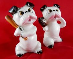 Vintage Bulldogs Porcelain Salt and Pepper by SusieSellsVintage, $21.50