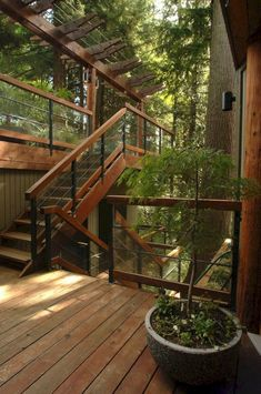 architecture - Roof Terrace Design For Your Lovely Home Concrete Staircase, Wooden Stairs, Rustic Stairs, Metal Stairs, Terrasse Design, Exterior Stairs, Hippie Home Decor, Hippie House, House In The Woods