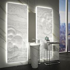 -sculptured backlit white onyx panel