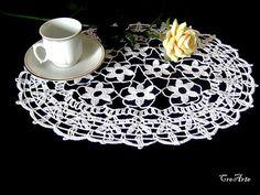Crochet White Doily Oval Doily Table decorations Centrino