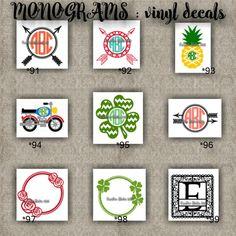 MONOGRAM vinyl decals | name | initial | decal | sticker | car decals | car stickers | laptop sticker - 91-99