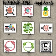 MONOGRAM vinyl decals | name | initial | decal | sticker | car decals | car stickers | laptop sticker - 91-99