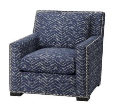 Massoud Chair in Clarice Blue Blue Leather Chair, Tub Chair, Accent Chairs, Armchair, Furniture, Home Decor, Wing Chairs, Upholstered Chairs, Sofa Chair