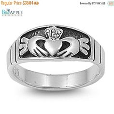 Irish Heart Claddagh Valentine's Day Ring Solid 925 Sterling Silver Plain Simple 4mm Band Valentine's Day Ring Size 4-16