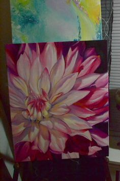 Dahlia finished – Famous Last Words Fabric Painting, Painting & Drawing, Flower Art Images, Acrylic Flowers, Diy Canvas Art, Arte Floral, Online Painting, Beautiful Paintings, Art Tutorials