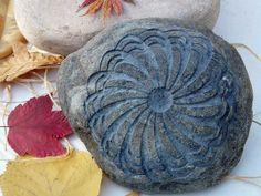 Pin Wheel Door Stop Decorative Garden Engraved Stone