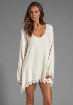 FOR LOVE & LEMONS Angelic Long Sleeve Dress w/ Lace Trim in Ivory