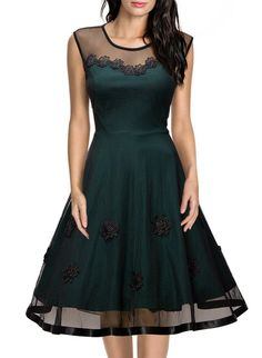 Miusol Vestidos Para Mujer Sin Mangas Trapecio Lace Dress Ropa De Mujer Casual Vestidos Verde Small