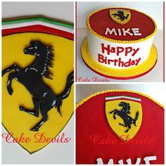 Auto Car Hood Emblem Fondant Cake Topper, Handmade Edible Ferrari Cake Topper, Horse on Shield Birthday Cake Fondant Topper
