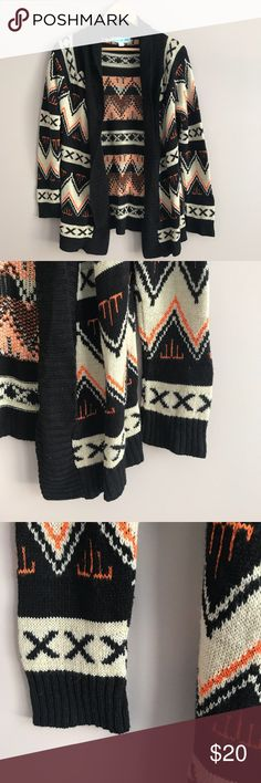 Francesca's Tribal Print Sweater Adorable sweater in great condition! Material is a little fuzzy from wear, but still looks very nice. I think it fits more like a medium. Dina Be Sweaters