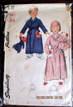 Vintage  SIMPLICITY Sewing pattern no.S37 Boys & Girls dressing gown size 3  #simplicity