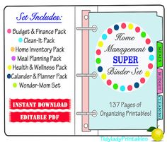 Printable Organizer Sheets - Home Management Binder- INSTANT and EDITABLE 137 Documents