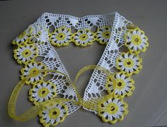 Crochet lace Peter Pan collar necklace yellow floral lace necklace on Etsy, £6.45