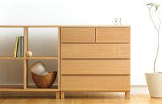 muji shelving and drawers