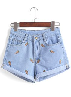 Carrot Embroidered Cuffed Denim Shorts 11.00