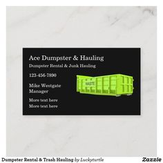 Classic Business Card, Business Cards Layout, Real Estate Business Cards, Trash Hauling, Junk Hauling, Roll Off Dumpster, Dumpster Rental, Construction Business Cards, Cleaning Business Cards