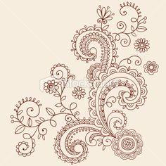 Henna Mehndi Paisley Doodles Vector Royalty Free Stock Vector Art Illustration