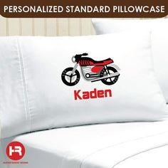 Motorcycle Pillowcase   Boys Personalized by HeatherRogersDesigns, $17.00