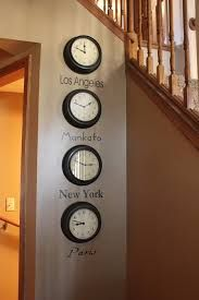 Jun 2015 - Interior Decor Ideas -- world times on a wall (buy four of the least expensive clocks from Walmart, and choose four of your favorite cities: New York, Tokyo, London, Paris) with four different fonts --- and change them up periodically! Bedroom Themes, Bedroom Wall, Bedroom Decor, Bedroom Ideas, Casa Rock, Time Zone Clocks, Travel Bedroom, Travel Room Decor, Travel Themed Bedrooms