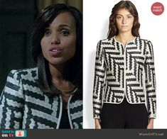 Olivia's black and white geometric patterned jacket on Scandal.  Outfit Details: http://wornontv.net/39949/ #Scandal