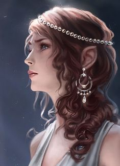 Wonderful earrings, dress looks wonderful, and hadn't thought of using pearls for a diadem...