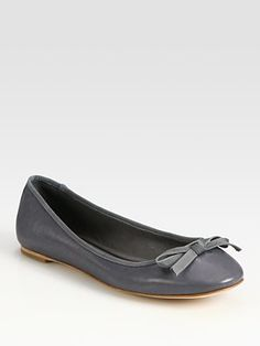 Vera Wang Lavender Label - Leather Bow Ballet Flats - Saks.com $185.00