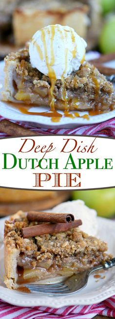 Deep Dish Dutch Apple Pie is loaded with a spiced apple filling and topped with a crunchy, sweet, pecan streusel topping. Best served with a big scoop of vanilla ice cream and caramel sauce. This is THE dessert for the fall season! Dutch Apple Pie Topping, Apple Pecan Pie, Deep Dish Apple Pie, Homemade Apple Pie Filling, Best Apple Pie, Apple Pie Recipes, Best Dessert Recipes, Tart Recipes, Köstliche Desserts